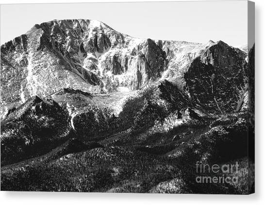 Pikes Peak Black And White In Wintertime Canvas Print