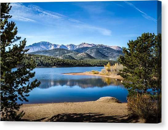 Pikes Peak Over Crystal Lake Canvas Print