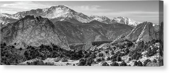 Canvas Print featuring the photograph Pikes Peak Panorama - Garden Of The Gods - Colorado Springs - Black And White by Gregory Ballos
