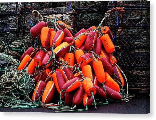 Crabbing Canvas Print - Pile Of Crabpots And Fishnet Buoys Orange And Red by Carol Leigh
