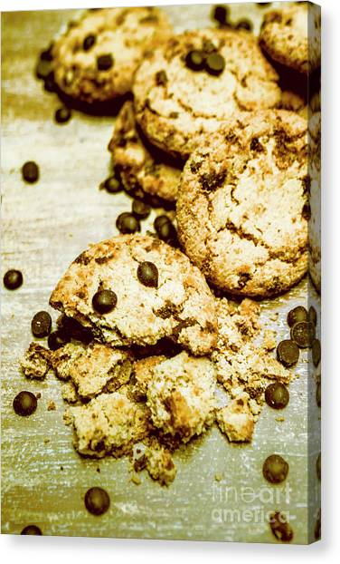 Biscuits Canvas Print - Pile Of Crumbled Chocolate Chip Cookies On Table by Jorgo Photography - Wall Art Gallery