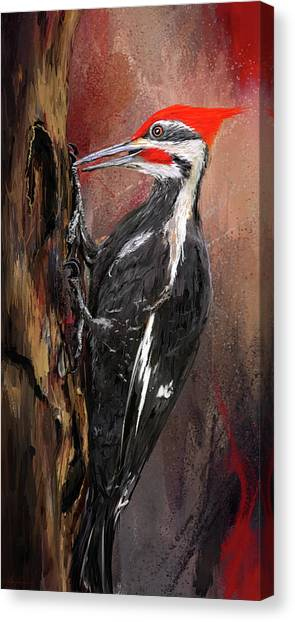 Woodpeckers Canvas Print - Pileated Woodpecker Art by Lourry Legarde