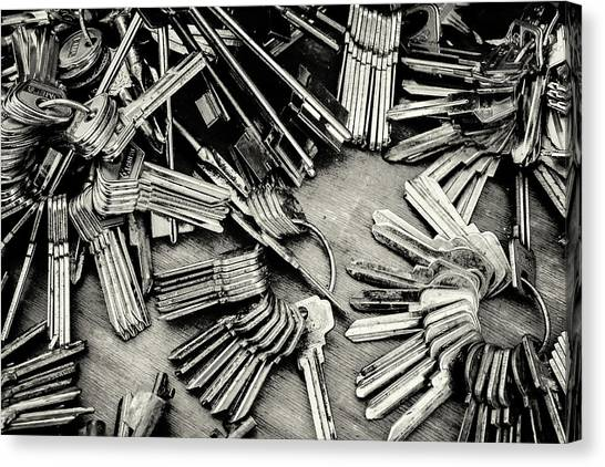 Piles Of Blank Keys In Monochrome Canvas Print