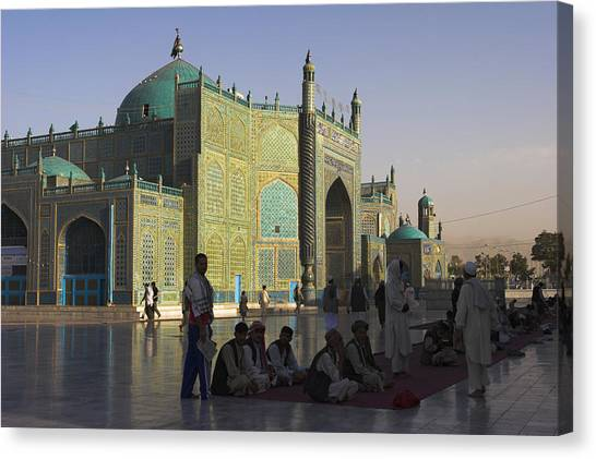 Pilgrims At The Shrine Of Hazrat Ali Canvas Print by Jane Sweeney