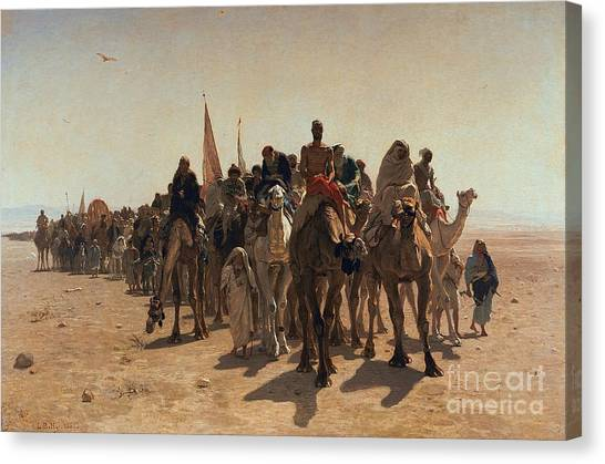 Muslim Canvas Print - Pilgrims Going To Mecca by Leon Auguste Adolphe Belly