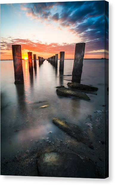 Long Wharf Canvas Print - Pilling Up by Marvin Spates