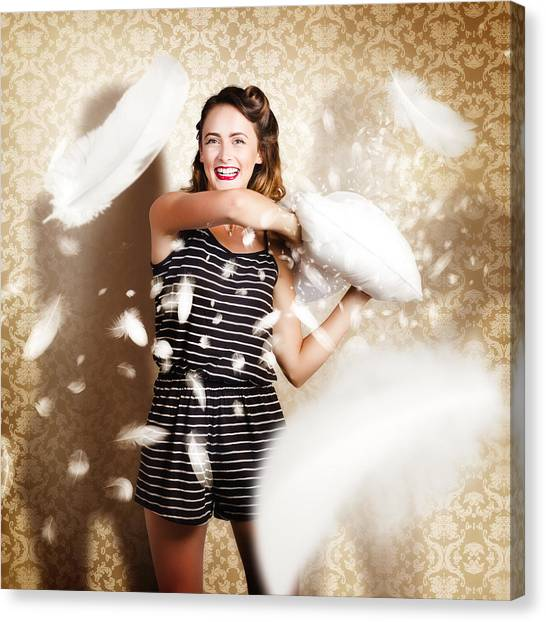 Indoors Canvas Print - Pillow Fight Pinup by Jorgo Photography - Wall Art Gallery