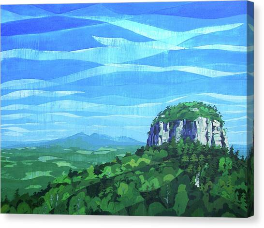 Canvas Print featuring the painting Pilot Mountain by John Gibbs