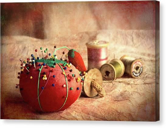 Strawberry Canvas Print - Pin Cushion And Wooden Thread Spools by Tom Mc Nemar