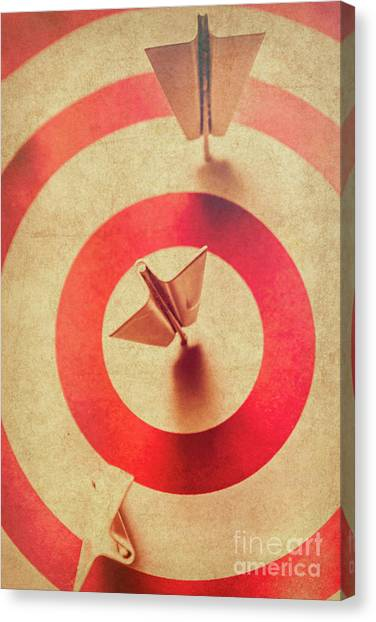 Improve Canvas Print - Pin Plane Darts Hitting Goals by Jorgo Photography - Wall Art Gallery