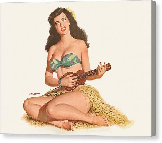 Ukuleles Canvas Print - Pin Up Sexy Hula Girl Play Ukulele by Long Shot