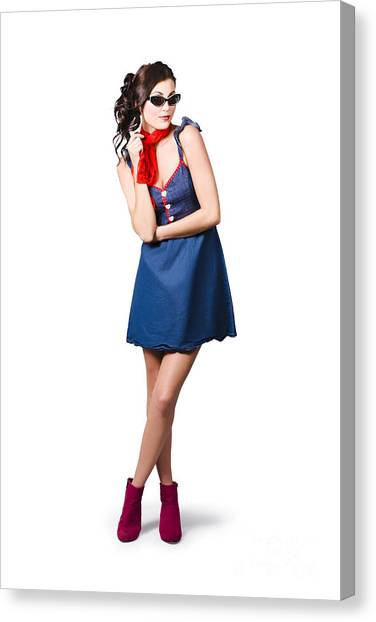 Bare Shoulder Canvas Print - Pin Up Styling Fashion Girl In Retro Denim Dress by Jorgo Photography - Wall Art Gallery