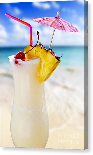 Rum Canvas Print - Pina Colada Cocktail On The Beach by Elena Elisseeva