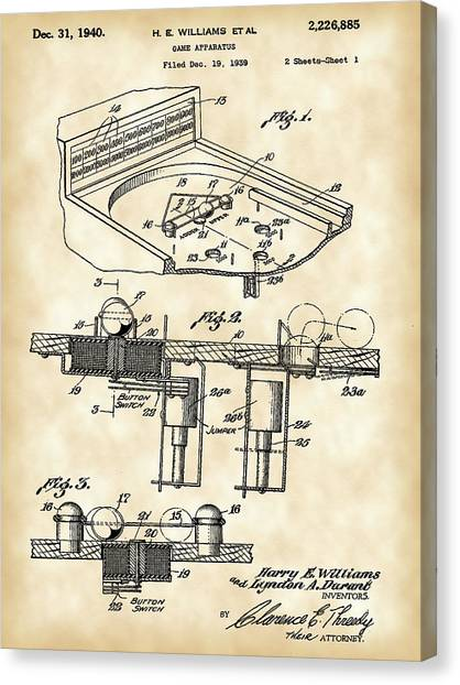 Arcade Games Canvas Print - Pinball Machine Patent 1939 - Vintage by Stephen Younts