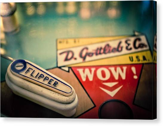 Flipper Canvas Print - Pinball - Wow by Colleen Kammerer