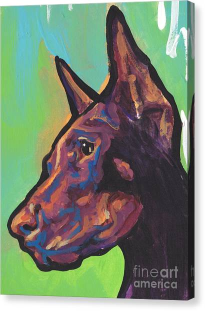 Doberman Pinschers Canvas Print - Pinch Me Red by Lea S