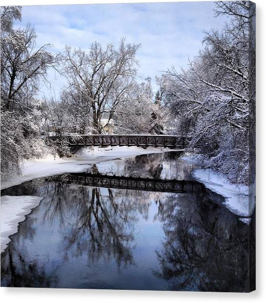 Pine River Foot Bridge From Superior In Winter Canvas Print