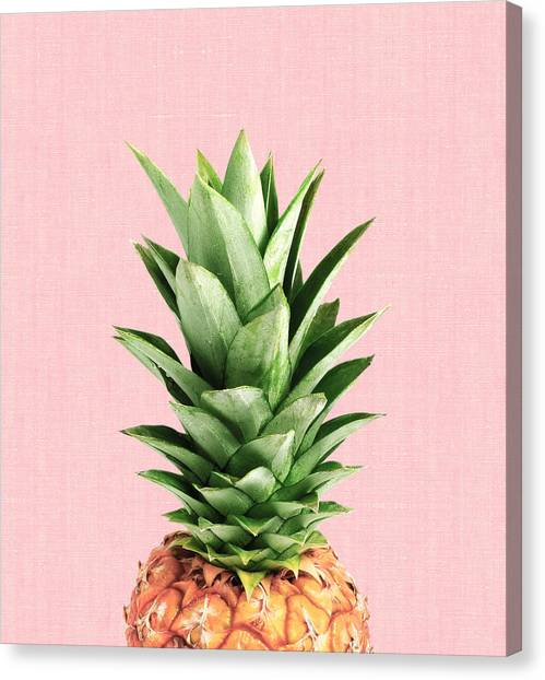 Pineapples Canvas Print - Pineapple And Pink by Vitor Costa