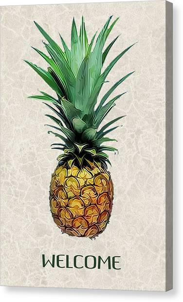 Pineapples Canvas Print - Pineapple Express On Mottled Parchment Welcome by Elaine Plesser