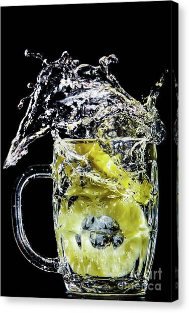 Canvas Print featuring the photograph Pineapple Splash by Ray Shiu