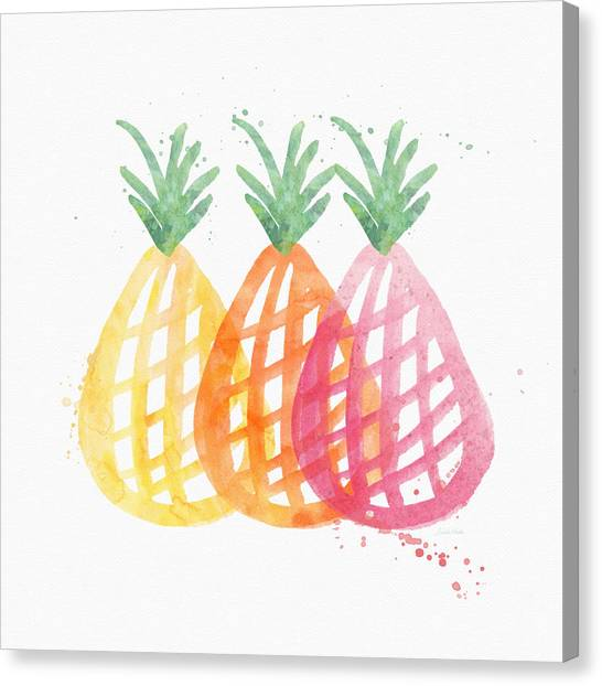 Pineapples Canvas Print - Pineapple Trio by Linda Woods