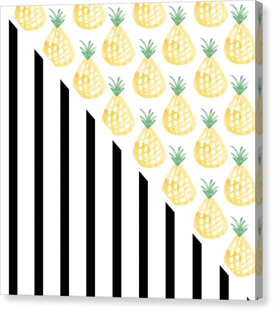Pineapples Canvas Print - Pineapples And Stripes by Linda Woods