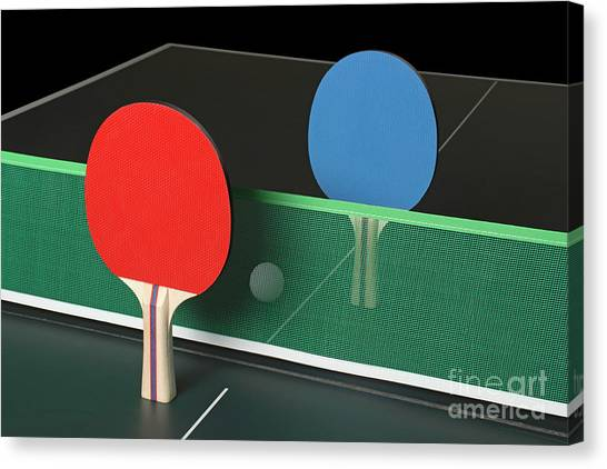 Ping Pong Paddles On Table, Standing Upright Canvas Print