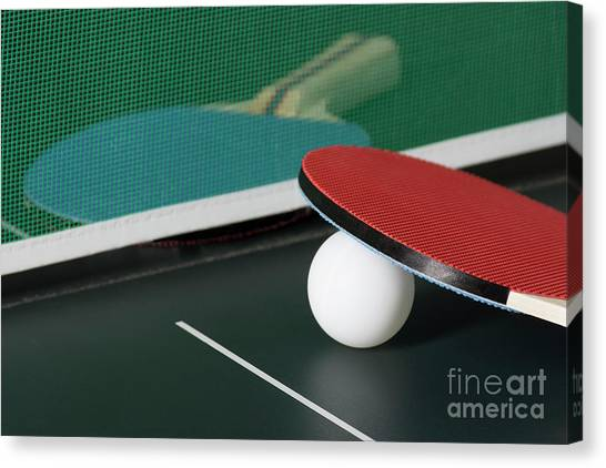 Ping Pong Paddles On Table With Net Canvas Print