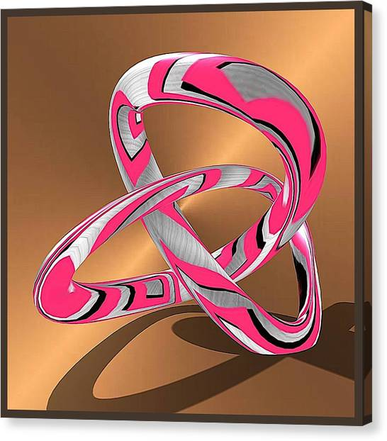 Pink Abstract On Gold Canvas Print