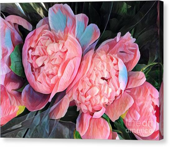 Pink And A Little Blue - Colors From My Garden Canvas Print