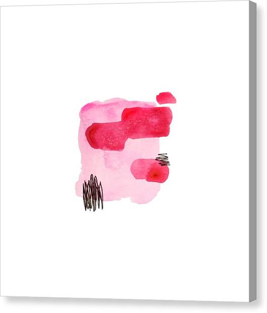 Pink And Black Abstract Canvas Print