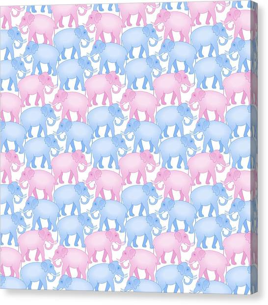 Elephants Canvas Print - Pink And Blue Elephant Pattern by Antique Images