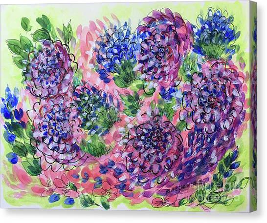 Pink And Blue Flower Flurry Canvas Print