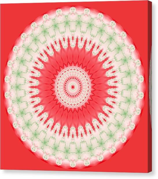 Pink And Green Mandala Fractal 001 Canvas Print