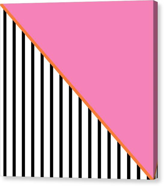 Art Nouveau Canvas Print - Pink And Orange And Black Geometric by Linda Woods