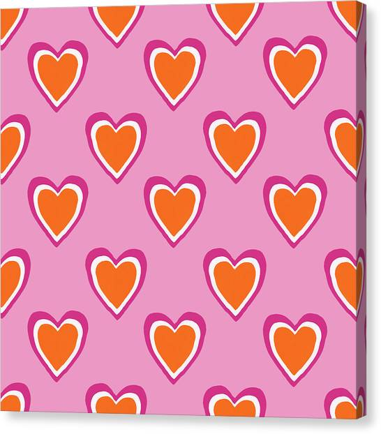 Hearts Canvas Print - Pink And Orange Hearts- Art By Linda Woods by Linda Woods