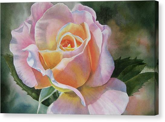 Watercolor Rose Canvas Print - Pink And Peach Rose Bud by Sharon Freeman
