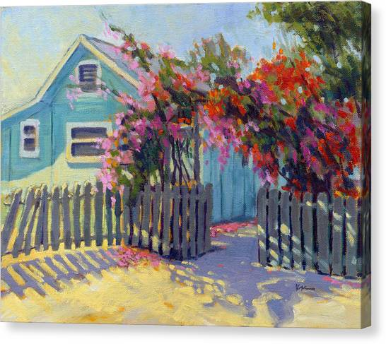 Canvas Print featuring the painting Pink And Red by Konnie Kim