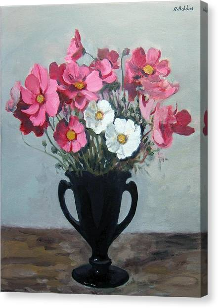 Pink And White Cosmos In Black Milk Glass Vase Canvas Print
