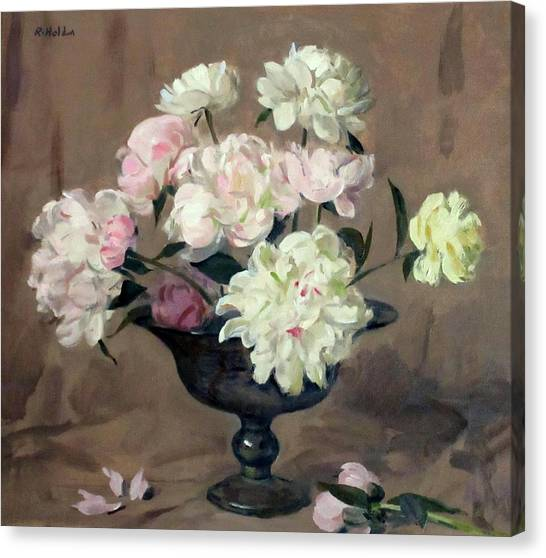 Pink And White Peonies In Footed Silver Bowl Canvas Print