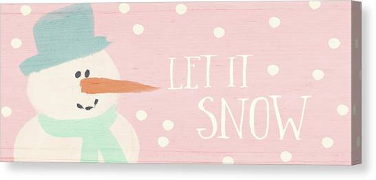 Winter Canvas Print - Pink And White Snowman- Art By Linda Woods by Linda Woods