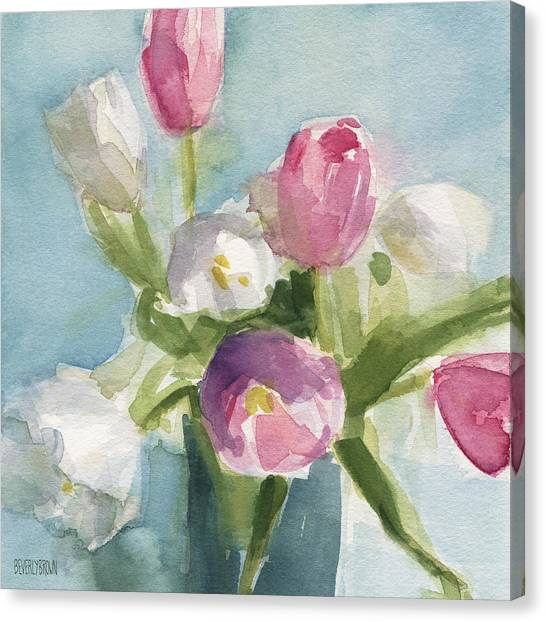 Tulips Canvas Print - Pink And White Tulips by Beverly Brown Prints