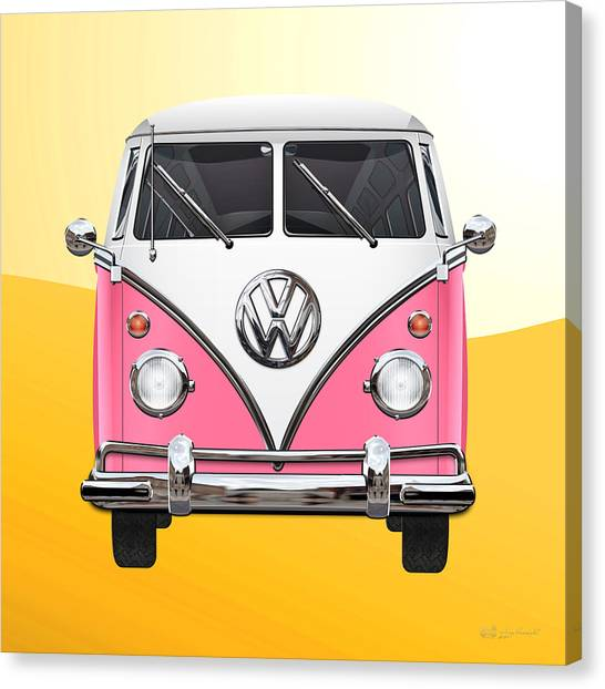 Vw Bus Canvas Print - Pink And White Volkswagen T 1 Samba Bus On Yellow by Serge Averbukh