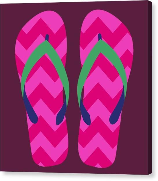 Canvas Print featuring the digital art Pink Beach Sandals by Jennifer Hotai
