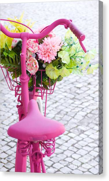 Bicycle Canvas Print - Pink Bike by Carlos Caetano