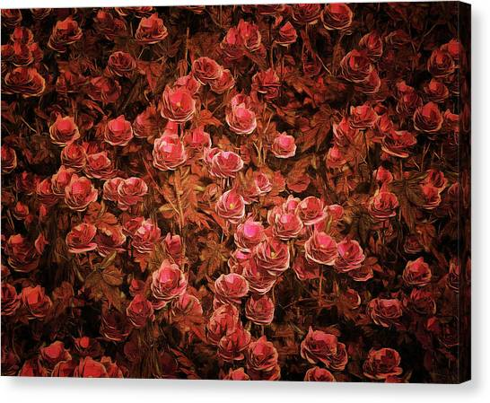 Canvas Print featuring the painting Pink Bionica Roses by Jan Keteleer