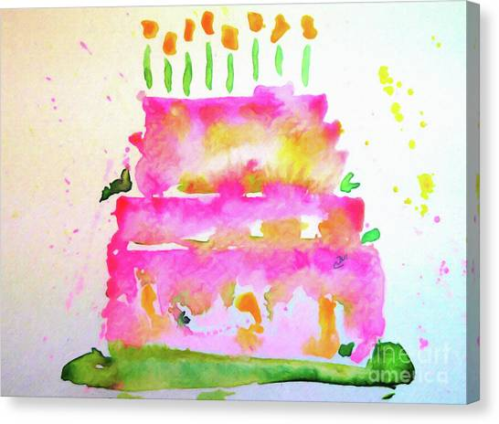 Canvas Print featuring the painting Pink Birthday Cake by Claire Bull