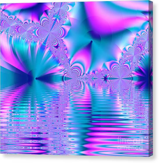 Pink, Blue And Turquoise Fractal Lake Canvas Print