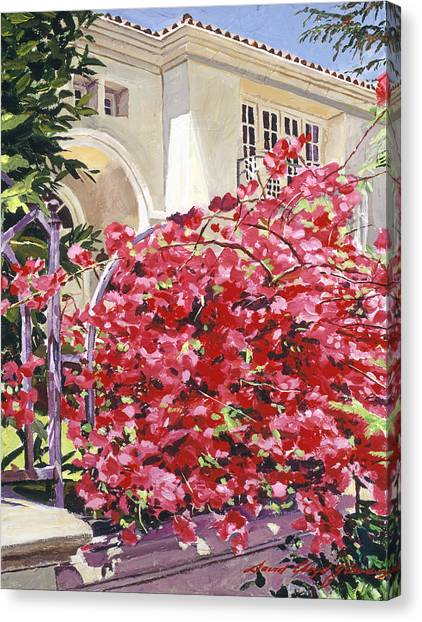 Beverly Hills Canvas Print - Pink Bougainvillea Mansion by David Lloyd Glover