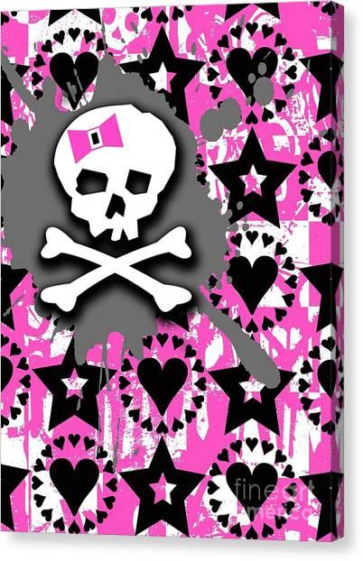Pink Bow Skull Canvas Print